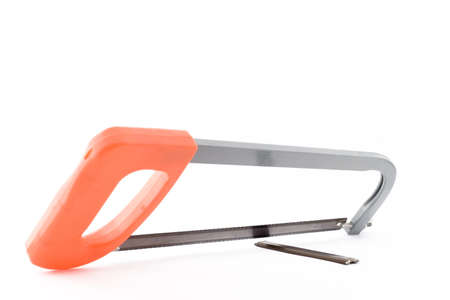 Hand hacksaw for metal on a white background