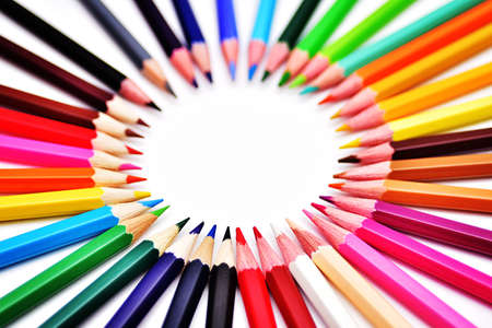 Set of Realistic Colorful Colored Pencils Stock Photo
