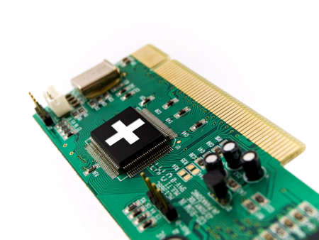 PC Help Circuit Board PCI on White Background Stock Photo