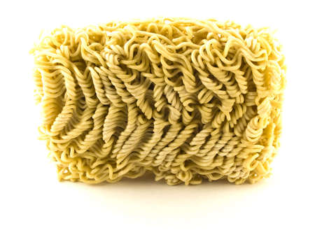 preperation: Dried Egg Noodles on White Background