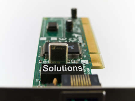 Solutions Circuit Board PCI on White Background Stock Photo - 3264769