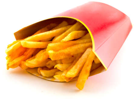 Salty Greasy French Freedom Fries Fast Food On White Background