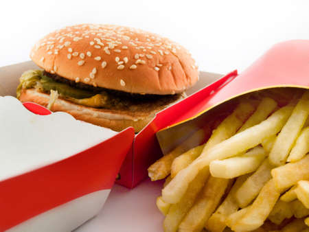 Burger and Fries in Cardboard Fast Unhealthy Food on White Background
