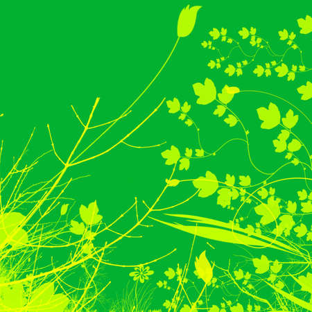 Green Plant and Flower Illustration Design With Contrasting Background Stock Illustration - 3314945