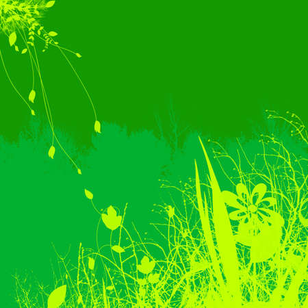 Green Plant and Flower Illustration Design With Contrasting Background Stock Illustration - 3314943