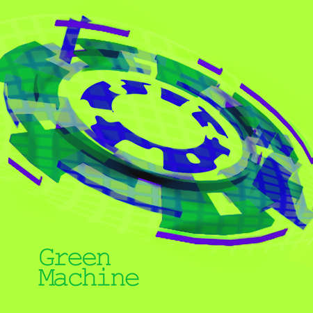 climatic: Green and Blue Cog Showing a Green Machine For Use With Systems of Environmental or Climatic Benefit Stock Photo