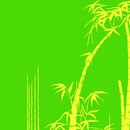 Yellow Bamboo Tropical Design Illustration on Green Background Stock Illustration - 3314947