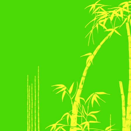 Yellow Bamboo Tropical Design Illustration on Green Background Stock Illustration - 3314947