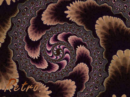 Brown Fractal Spiral 2d Pattern With Retro Text. Looks like wallpaper from the 50s to 70s era photo