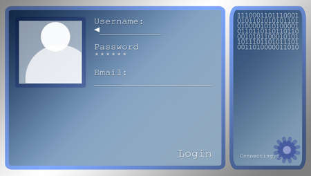 Medium Sized Blue Login Screen Layout With Portrait Box Stock Photo - 3314930