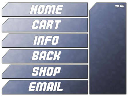 Blue Futuristic Website Navigation Stone Buttons Home Cart Infor Back Shop Email Stock Photo - 3314936