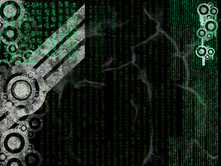 Industrial Background With Green Japanese Text Over Black