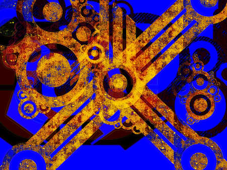 Rusted Industrial Machine Parts over Blue Abstract Illustration Stock Illustration - 3369372