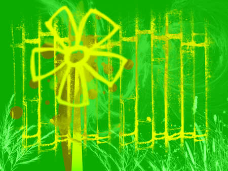 Cartoon Windmill Generator in Yellow on Green Background with Bamboo Effect and Wind Swoosh Style photo