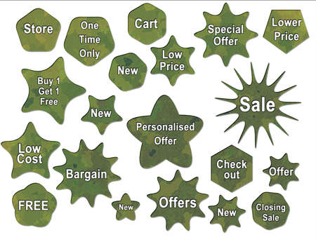 Green Jungle British DPM Style Military Camouflage Effect Buttons Badges and Bonus Sales Stickers Stock Photo - 3380092