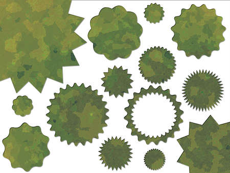 Green Jungle British DPM Style Military Camouflage Effect Buttons Badges and Bonus Sales Stickers Stock Photo