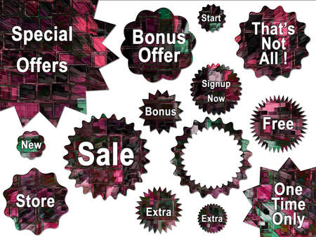high rise buildings: Digital High Rise Buildings Abstract Stars and Special Offer Stickers