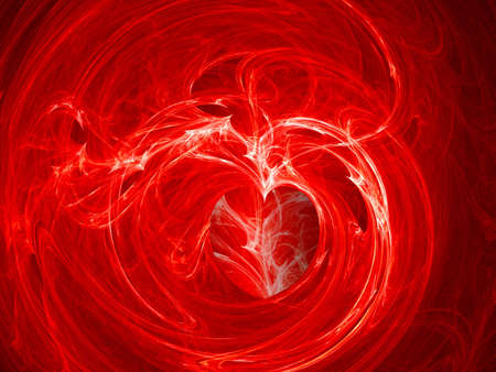 Fractal Swirly Heart on Fire Background Stock Photo - 3380110