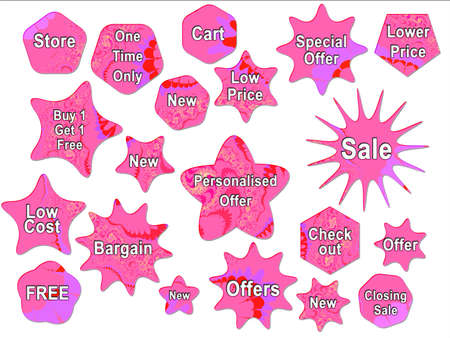 Pink Girly Bright For Sale Offer Badge Star Strickers photo