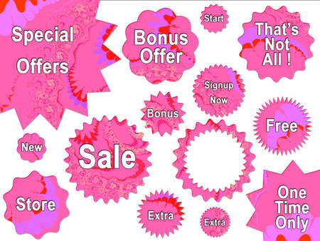 Pink Girly Bright For Sale Offer Badge Star Strickers