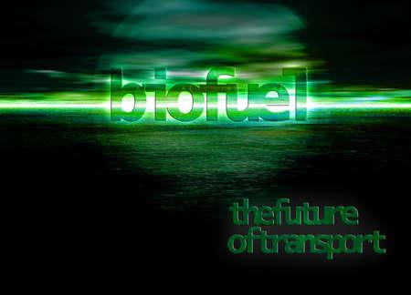 Biofuel Bioenergy The Future of Energy Text on Green Seascape Horizon