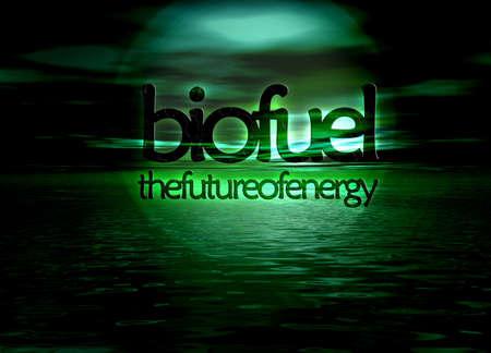bioenergy: Biofuel Bioenergy The Future of Energy Text on Green Seascape Horizon