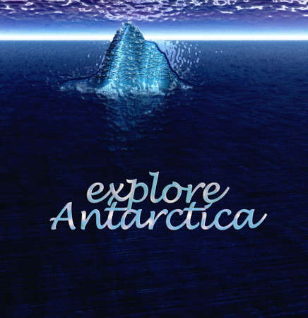 berg: Explore Antarctica Text With Floating Iceberg in Ocean