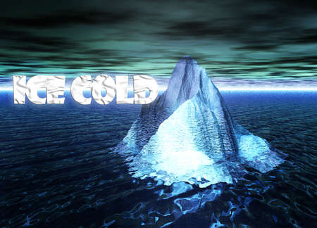 ice sheet: Ice Cold Text With Floating Iceberg in Ocean