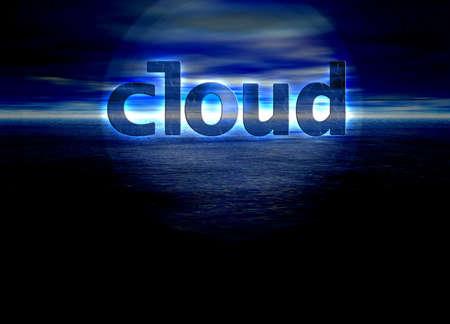 Cloud Text Internet Concept on Blue Skyscape Horizon