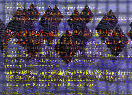 Programming Code With Grid on Digital Fantasy Pyramids Background photo