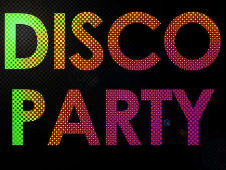 disco era: Psychadelic LED Lights Disco Party Sign Text
