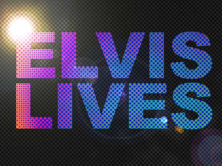Dotted Lights Elvis Lives Sign Text