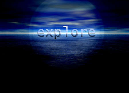 freeing: Explore Text on Bright Blue Distant Horizon Beautiful Background