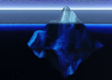 Floating Iceberg in the Open Ocean with Horizon