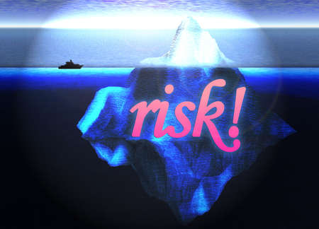 berg: Floating Iceberg in the Open Ocean with Small Boat and Risk Text Nearby Illustration Stock Photo
