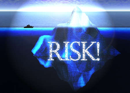 Floating Iceberg in the Open Ocean with Small Boat and Risk Text Nearby Illustration Stock Photo