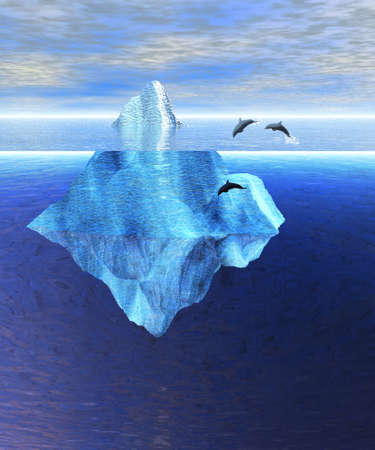 Beautiful Iceberg in the Open Ocean with Pod of Dolphins Swimming