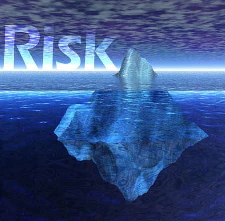 Schwimmender Eisberg im Ozean mit Risiko-Text