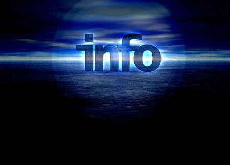Info text glowing over a bright blue night horizon sunrise Stock Photo