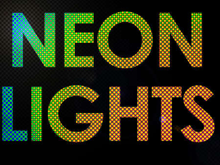 disco era: Neon Lights Sign Lit with Leds in a funky style Stock Photo