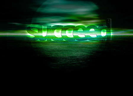 succeed: Succeed Text on Stunning Green Bright Ocean Sea Horizon at Night