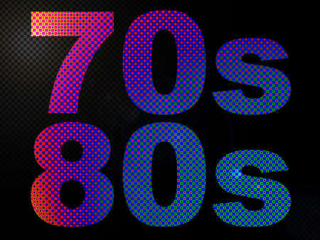 decade: 70s 80s Decade Sign Glowing LED Lights Stock Photo