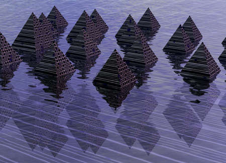 Digital Effect Pyramids with Reflections on Water 3d Rendered Illustration illustration