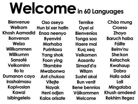 Welcome marhaba wilcommen written in lots of 60 different languages Stock Photo - 3439748