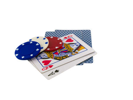 better chances: Playing Cards Queen and Ace with Poker Chips on White Background