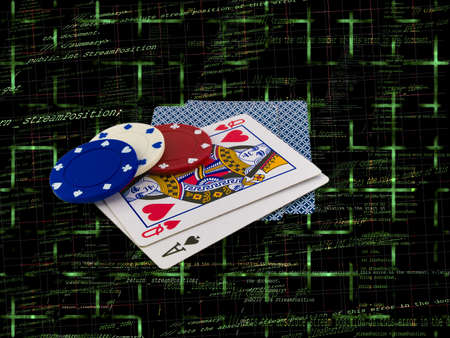 better chances: Playing Cards Queen and Ace with Poker Chips over Programming Source Code Editorial
