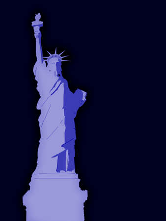 Statue of Liberty Illustration at Night Stock Illustration - 3479162
