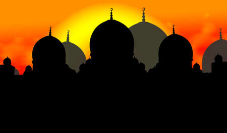Mosque Silhouette Illustration With Sun Background Stock Illustration - 3479163