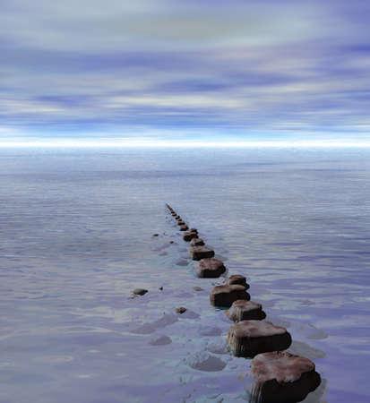 Row of Stepping Stones to Ocean Sea Horizon Stock Photo