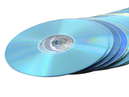 discs: CDs DVDs Blu-ray Stack of Blue Disks Discs on White Stock Photo